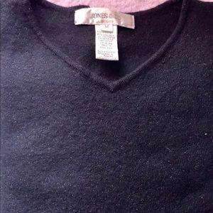 Jones NY black glitter lambswool v-neck sweater